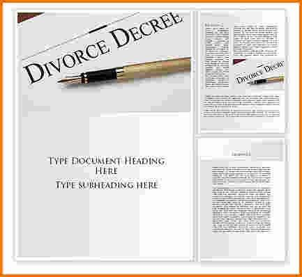 4 divorce decree template | Divorce Document