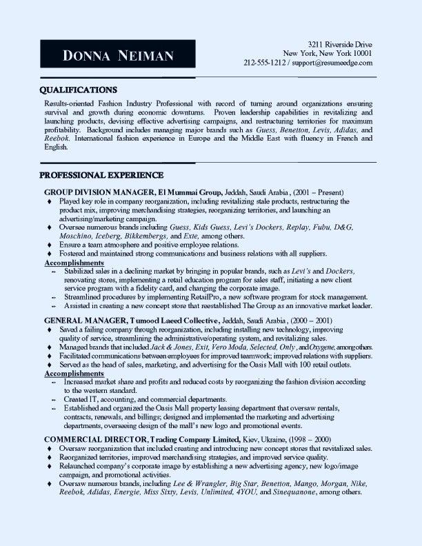 Retail Sales Manager Resume Example 8 | ilivearticles.info