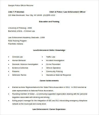 sample law enforcement resumes officer resume resume example