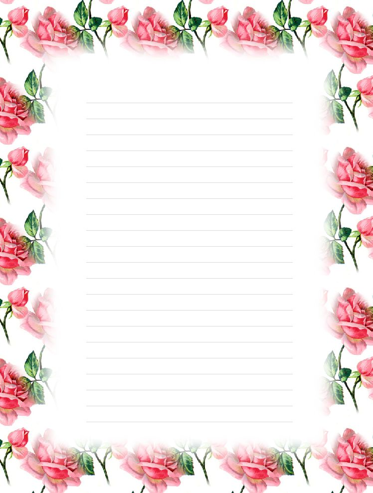 FREE Printable Floral Lined Stationery - Money Savers at Kid ...