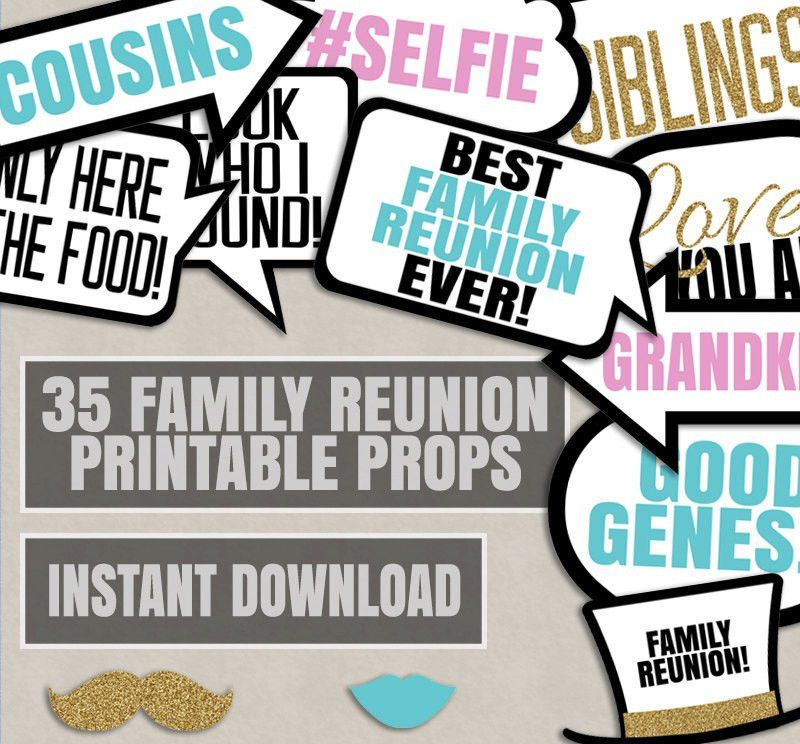 Family Party Photo Booth Props, Family reunion party photo booth ...