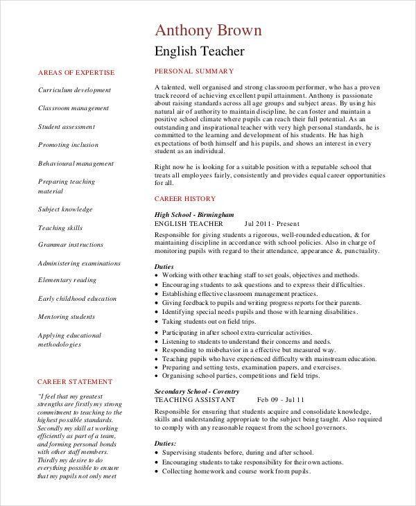 teacher resume templates free