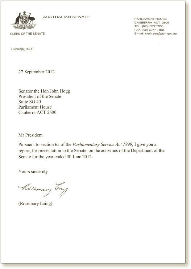 Letter of Transmittal – Parliament of Australia