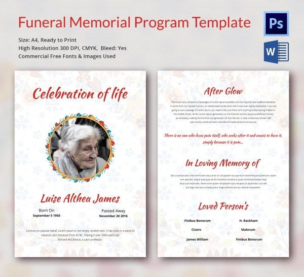 Funeral Program Template - 16+ Word, PSD Document Download | Free ...