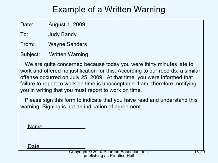 Written Warning Example Written Warning Template] Written Warning Template  9 Free Pdf Word .