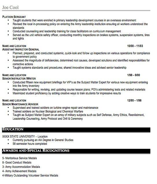 Military Resume Sample, Free Resume Template, Professional ...