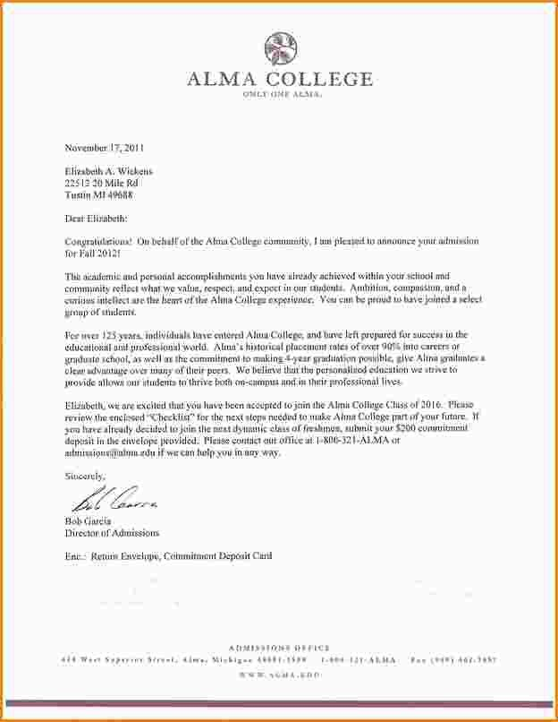 College Acceptance Letters. A Thank You Letter To The College I ...