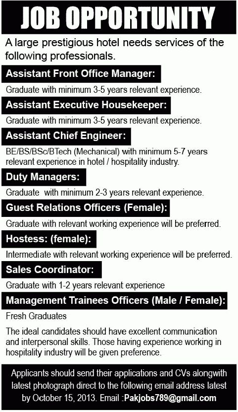 Assistant Chief Engineer Job, Prestigious Hotel Job, Asssitant ...