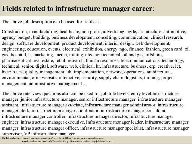 Top 10 infrastructure manager interview questions and answers