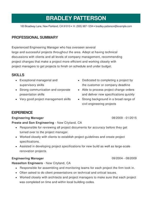 Engineering Combination Resume - Resume Help