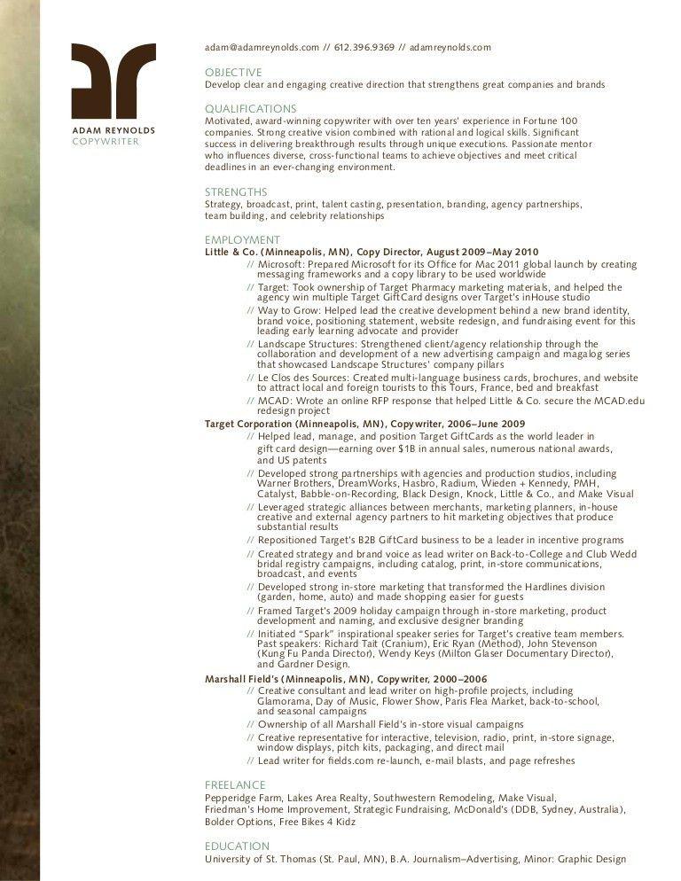 Adam Reynolds Copywriter Resume