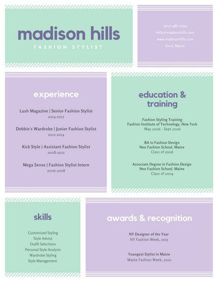Pastel Lined Grid Boxes Fashion Stylist Colorful Resume ...
