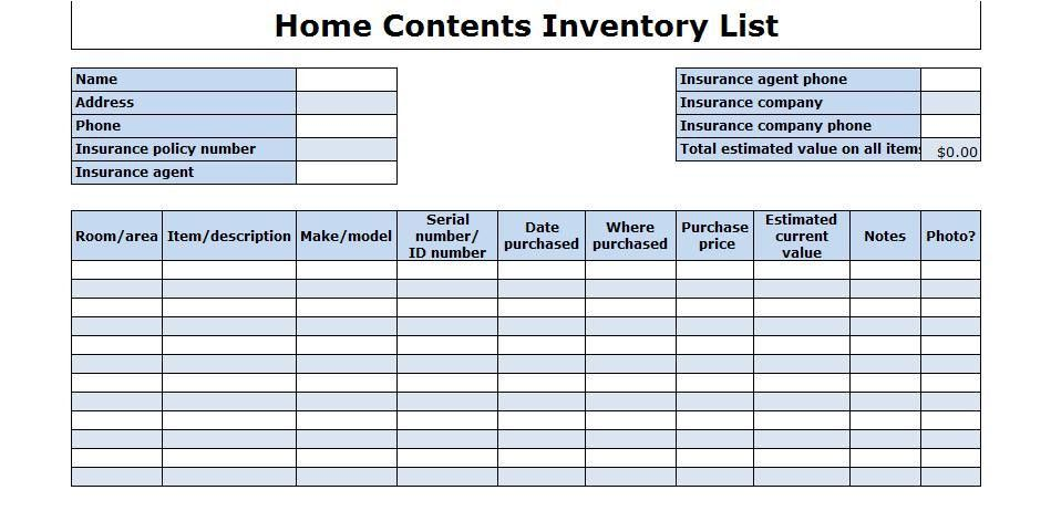 Office Furniture Inventory Template. home inventory sheet template ...