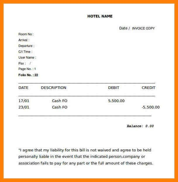 8+ hotel bill format in word | nanny resumed