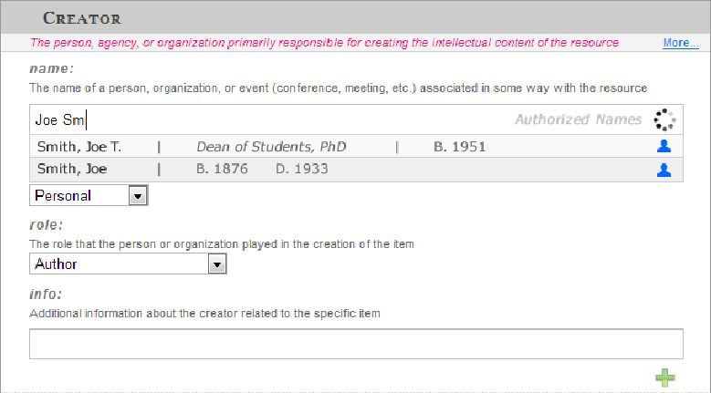 Example of the type-ahead name tool in the metadata Web form ...