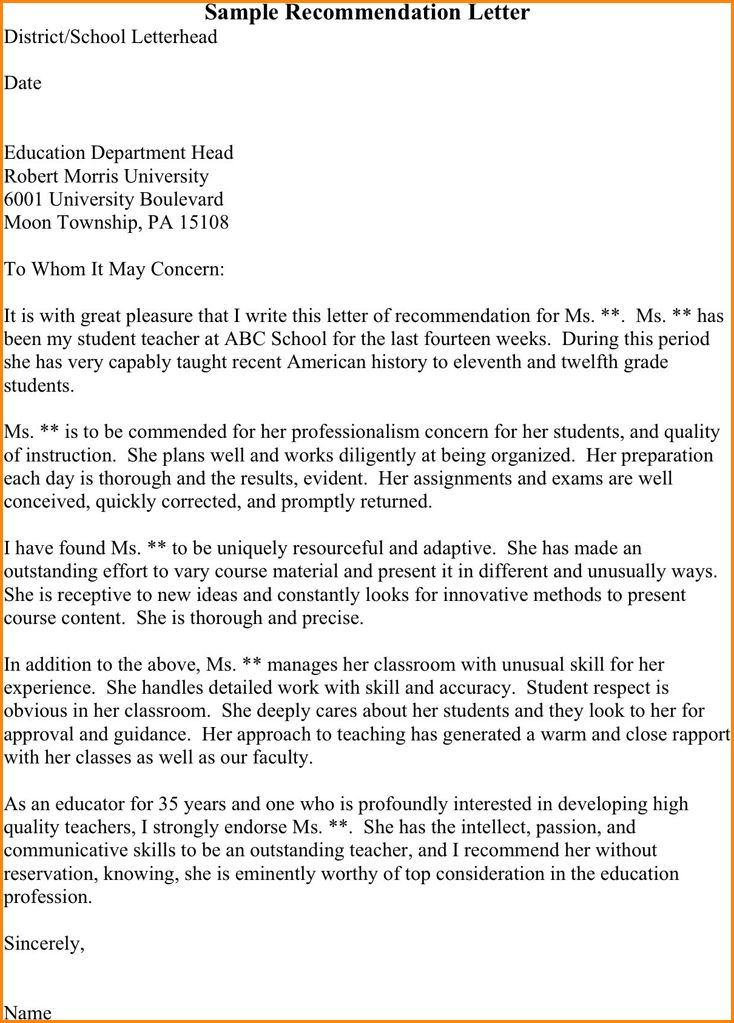 12+ sample recommendation letter for student | receipts template