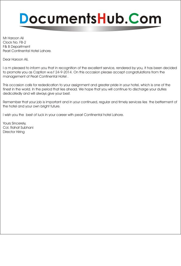 Promotion letter from Employee to Employer.