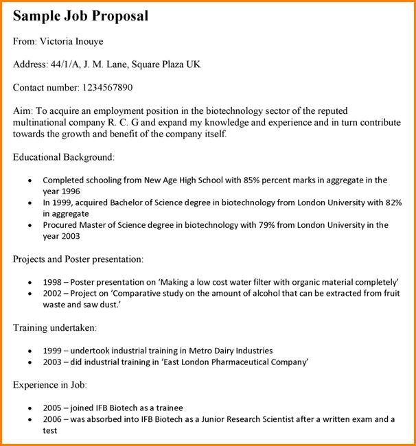 8+ job proposal template | paradochart