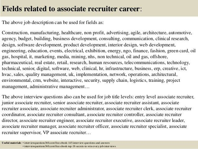 Top 10 associate recruiter interview questions and answers