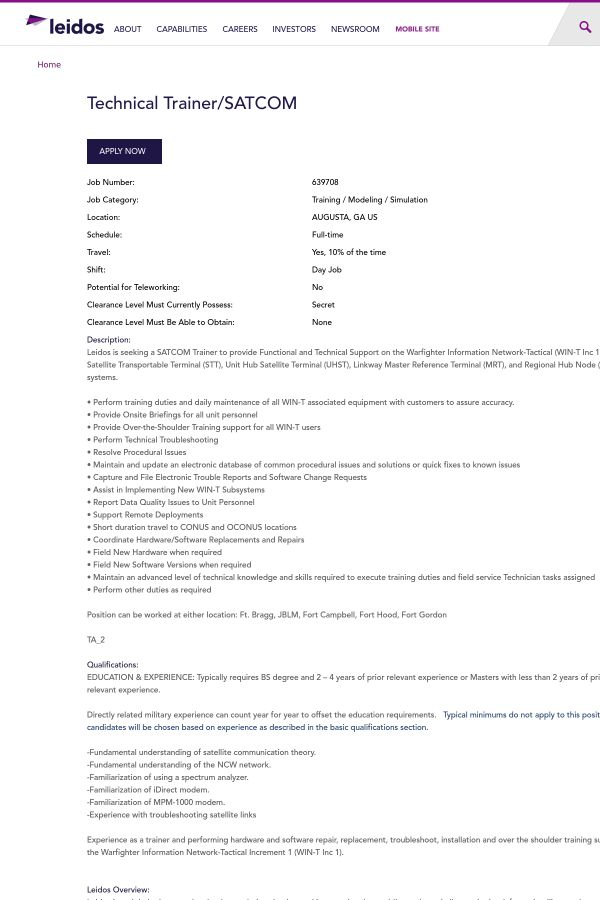 Technical Trainer / Satcom job at Leidos in Augusta, GA | Tapwage ...