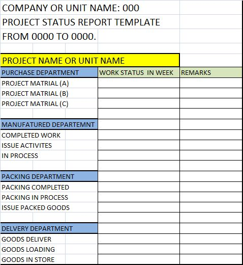 Project Status Report Template – Free Report Templates