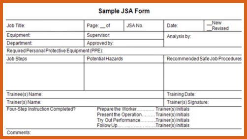 job safety analysis form | apa examples