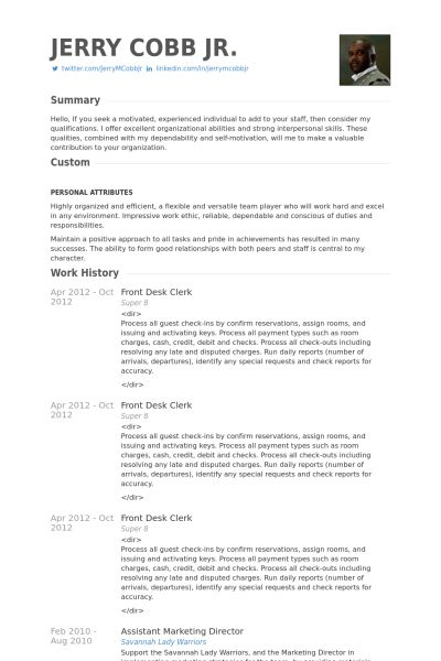 Front Desk Clerk Resume samples - VisualCV resume samples database