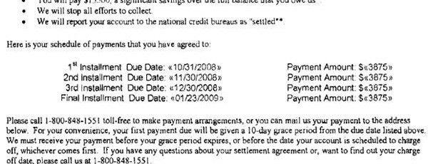 Chase Sample Debt Settlement Offer Letter - Leave Debt Behind