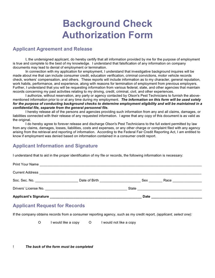 Background Check Form   Download Free Documents For PDF, Word And .