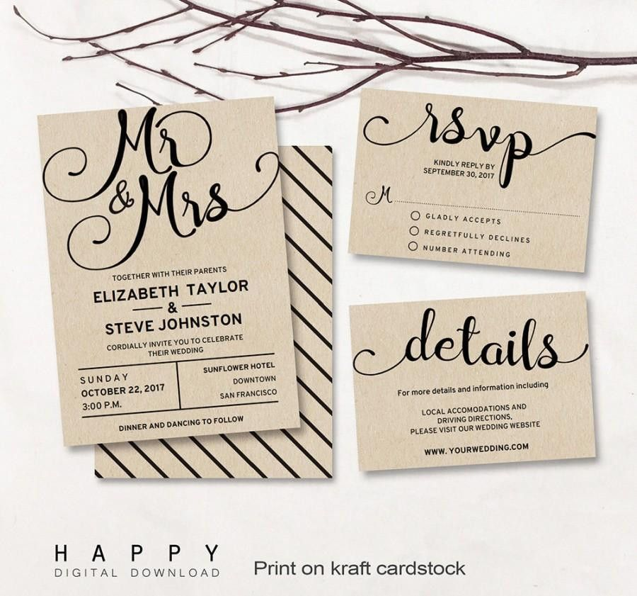 Printable Wedding Invitation Set, Editable Modern Wedding ...