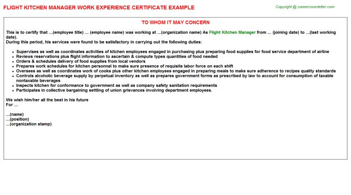 Flight Kitchen Manager Work Experience Certificate