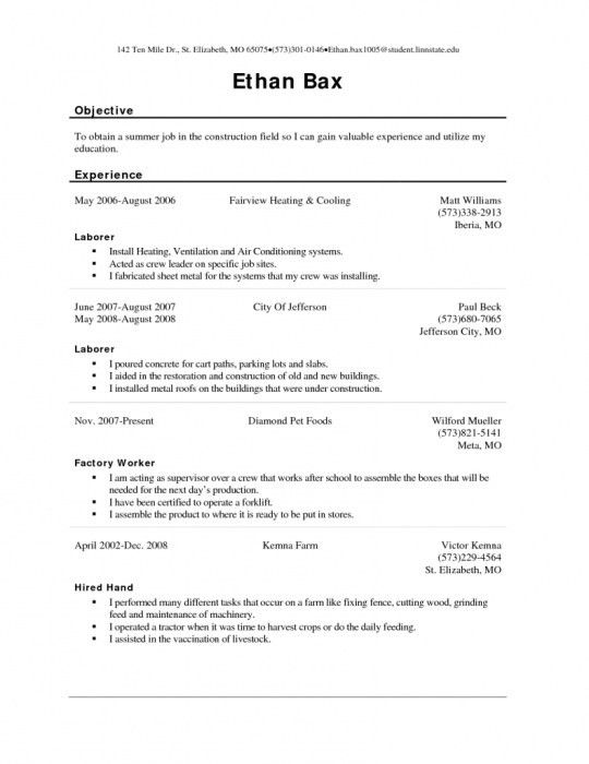 Download Sample Resume Factory Worker | haadyaooverbayresort.com