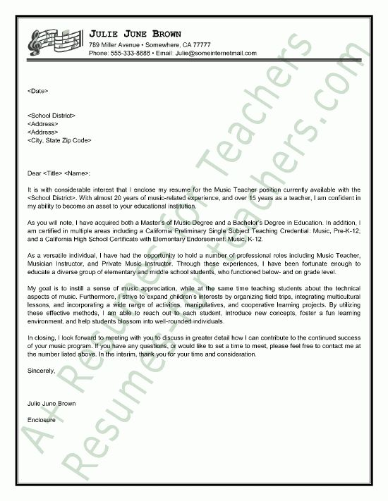 Music Teacher Cover Letter Sample | Cover letter sample, Letter ...
