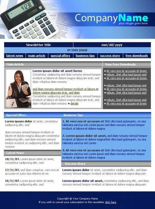 Business Company Newsletter Template - TemplatesBox.com