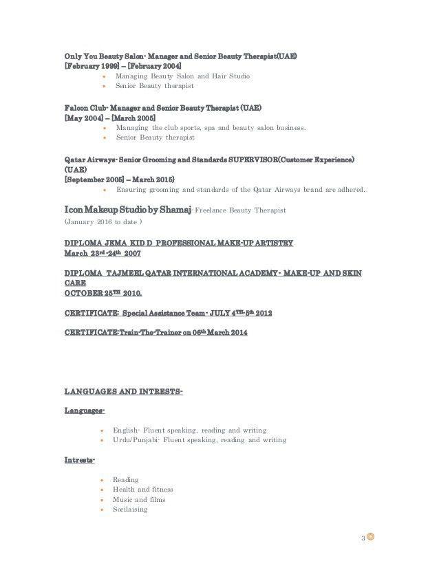 beauty therapist resume