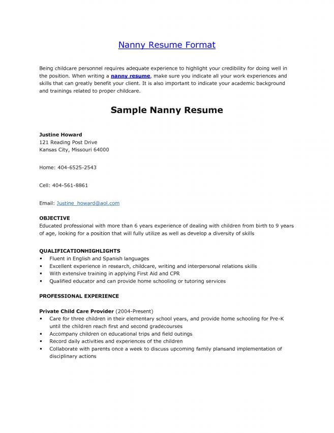 5 Nanny Job Description For Resume Job Duties job description for ...