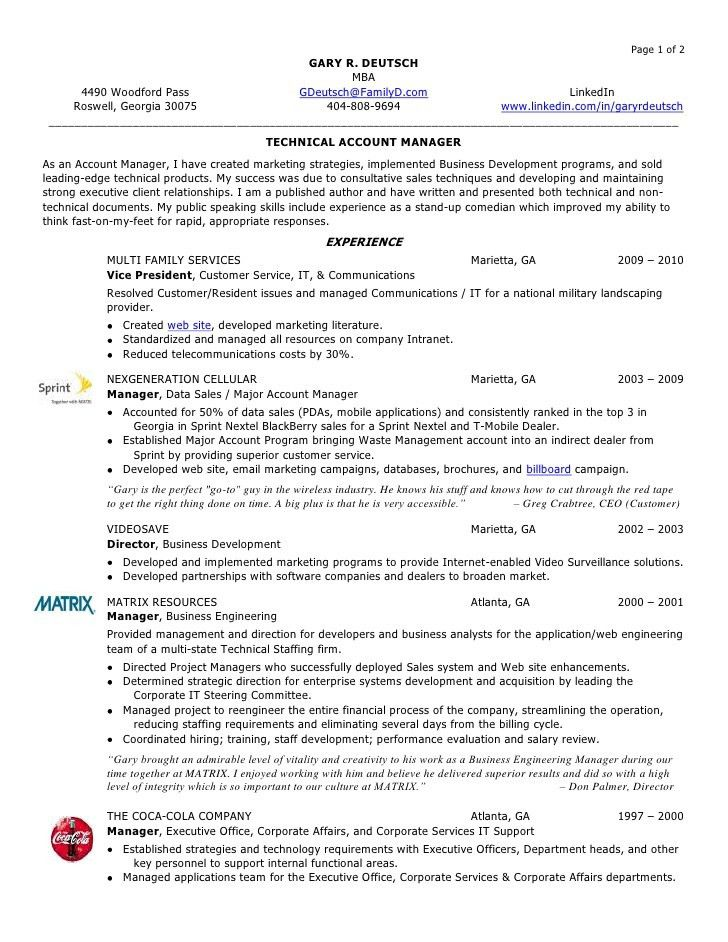 account manager resume job description account manager resume Gary ...