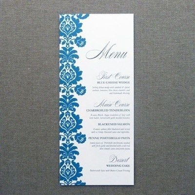 Menu Card Template – Rococo Design | Menu templates, Wedding menu ...