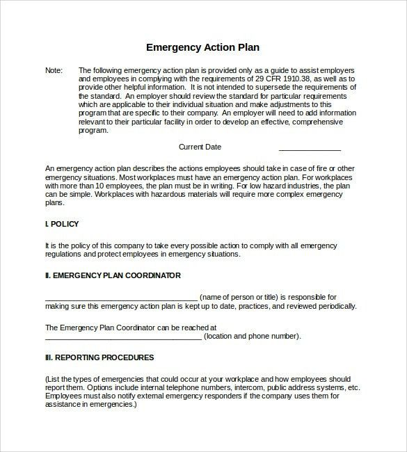 Osha Emergency Action Plan Template | Best Quality Templates
