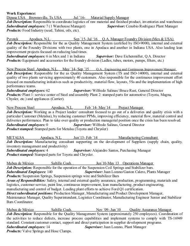 plant manager job description plant manager resume production job