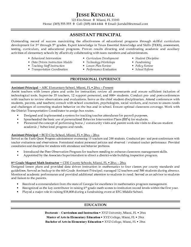 Free Assistant Principal Resume Example