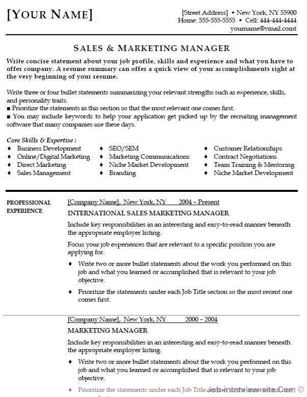 Marketing Manager Resume Objective - http://jobresumesample.com ...