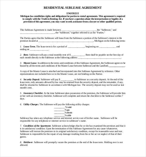10+ Useful Sublease Agreement Template for House and Apartment