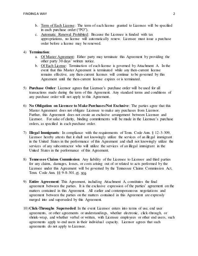 Master Agreement Template - Standard