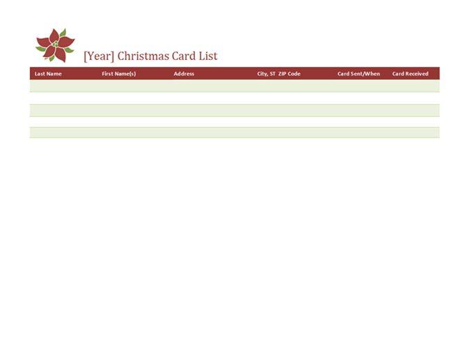 Christmas card list - Office Templates