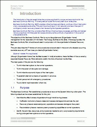 Business Continuity Plan - Download 48 pg MS Word & 12 Excel Template