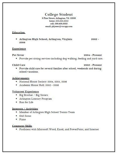College Admission Resume Sample   Best Resume Collection