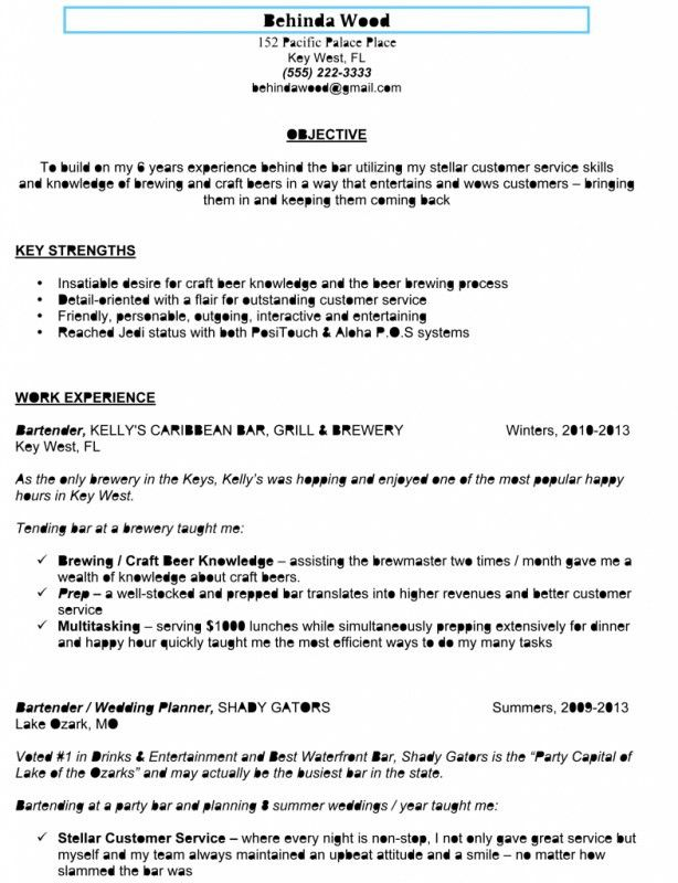Download Bartending Resume | haadyaooverbayresort.com
