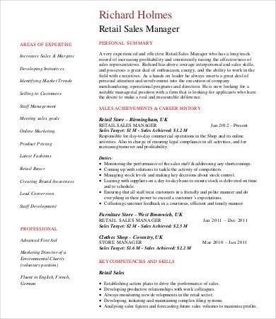 Manager resume sales