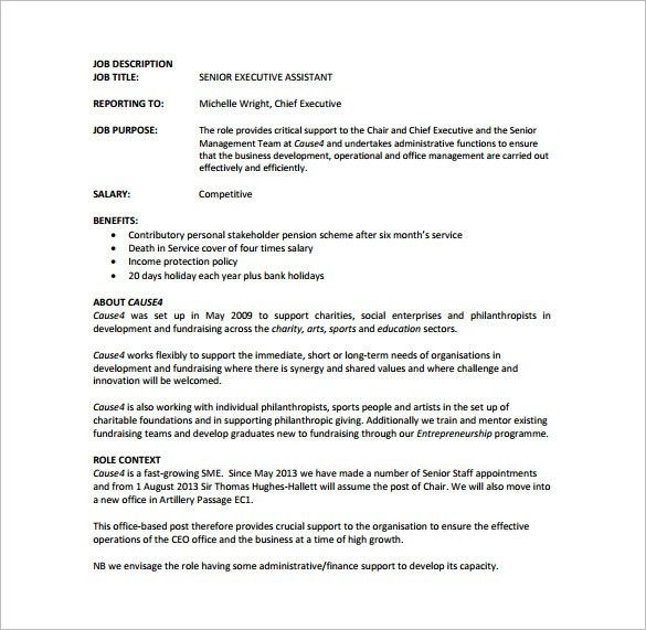 Executive Assistant Job Description Template - 8+ Free Word, PDF ...